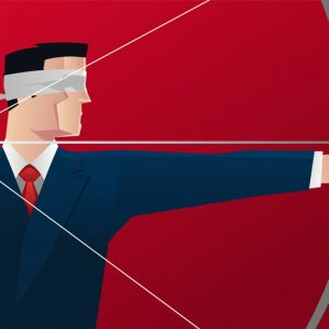 Businessman aiming blindfold with bow